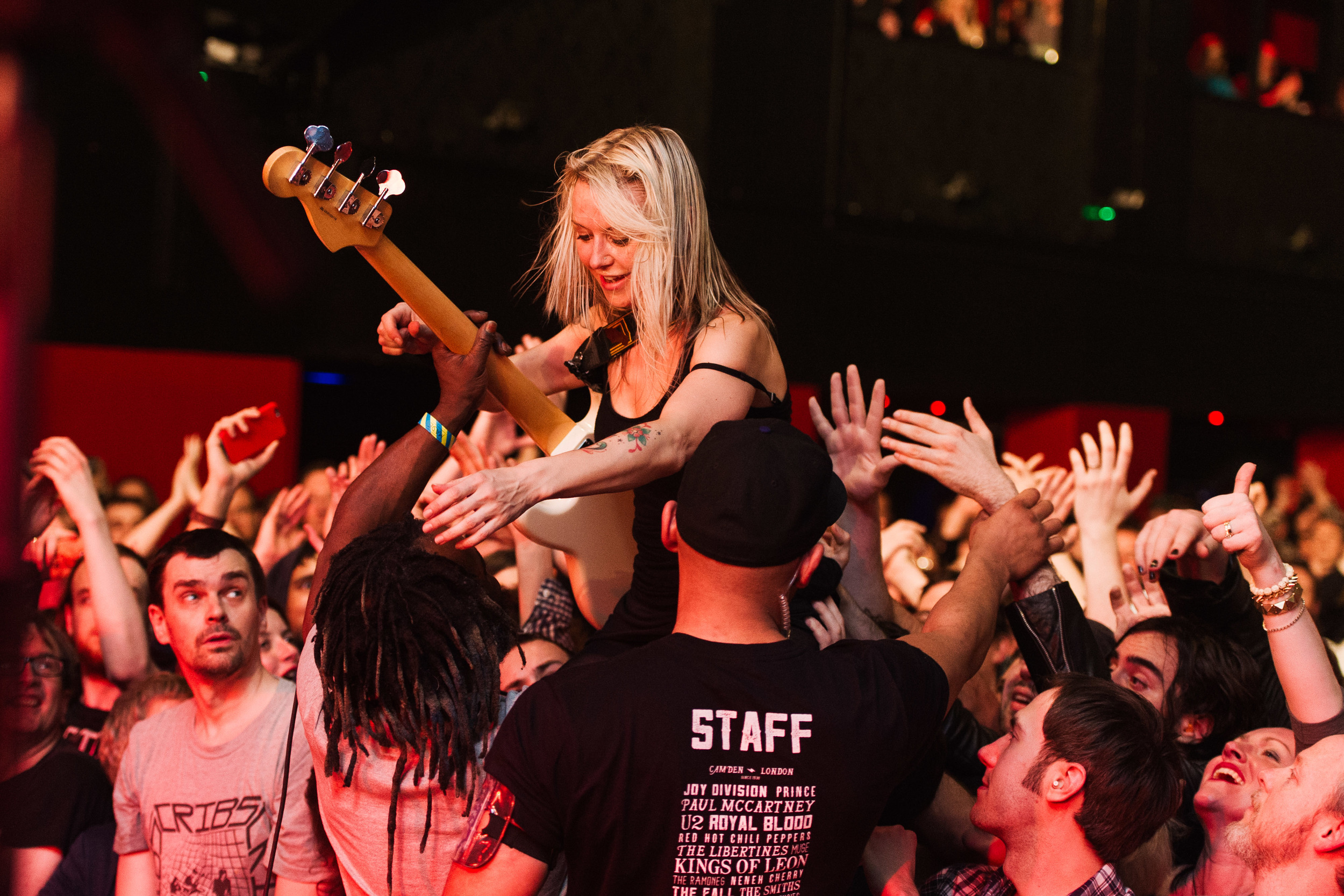 Future Of The Left at The Electric Ballroom - Julia Ruzicka crowdsurfing during Lapsed Catholics