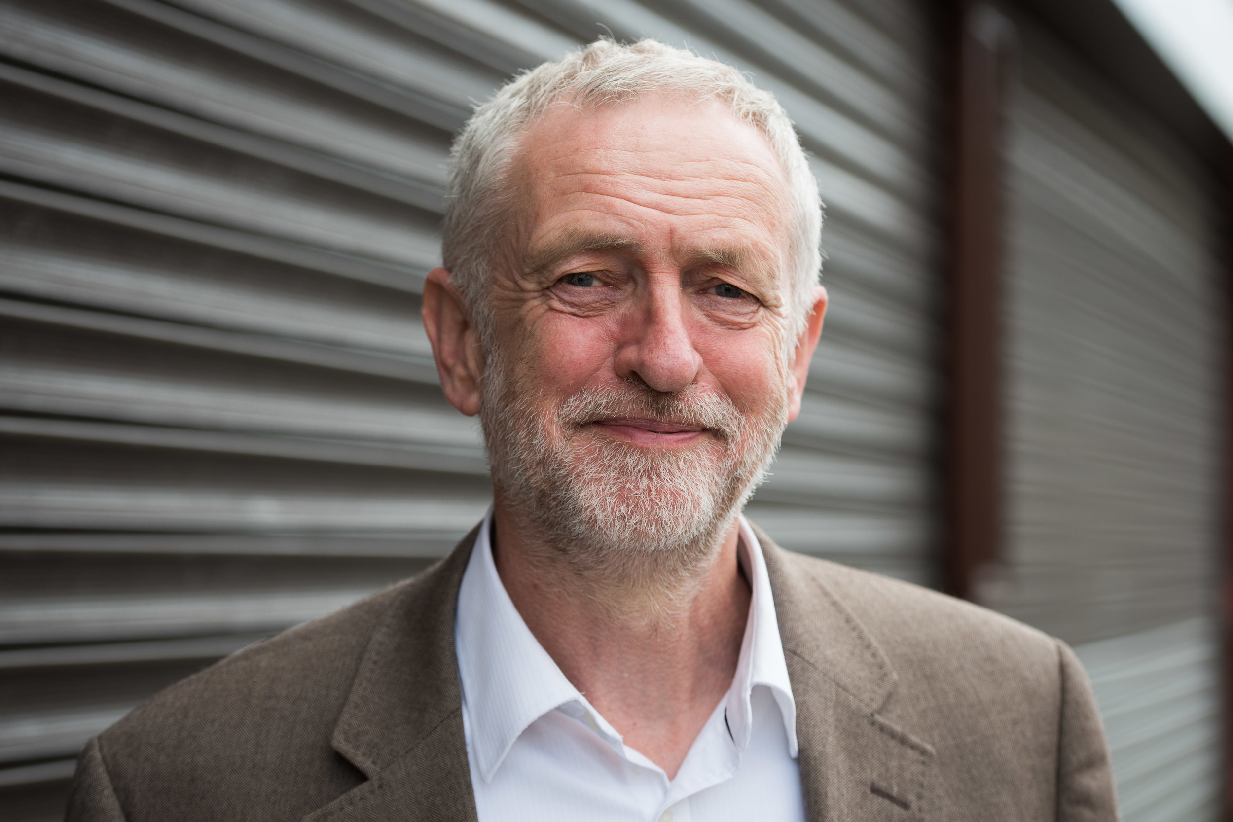 Jeremy Corbyn poses for a portrait in Maesteg ahead of the Welsh Assembly elections.