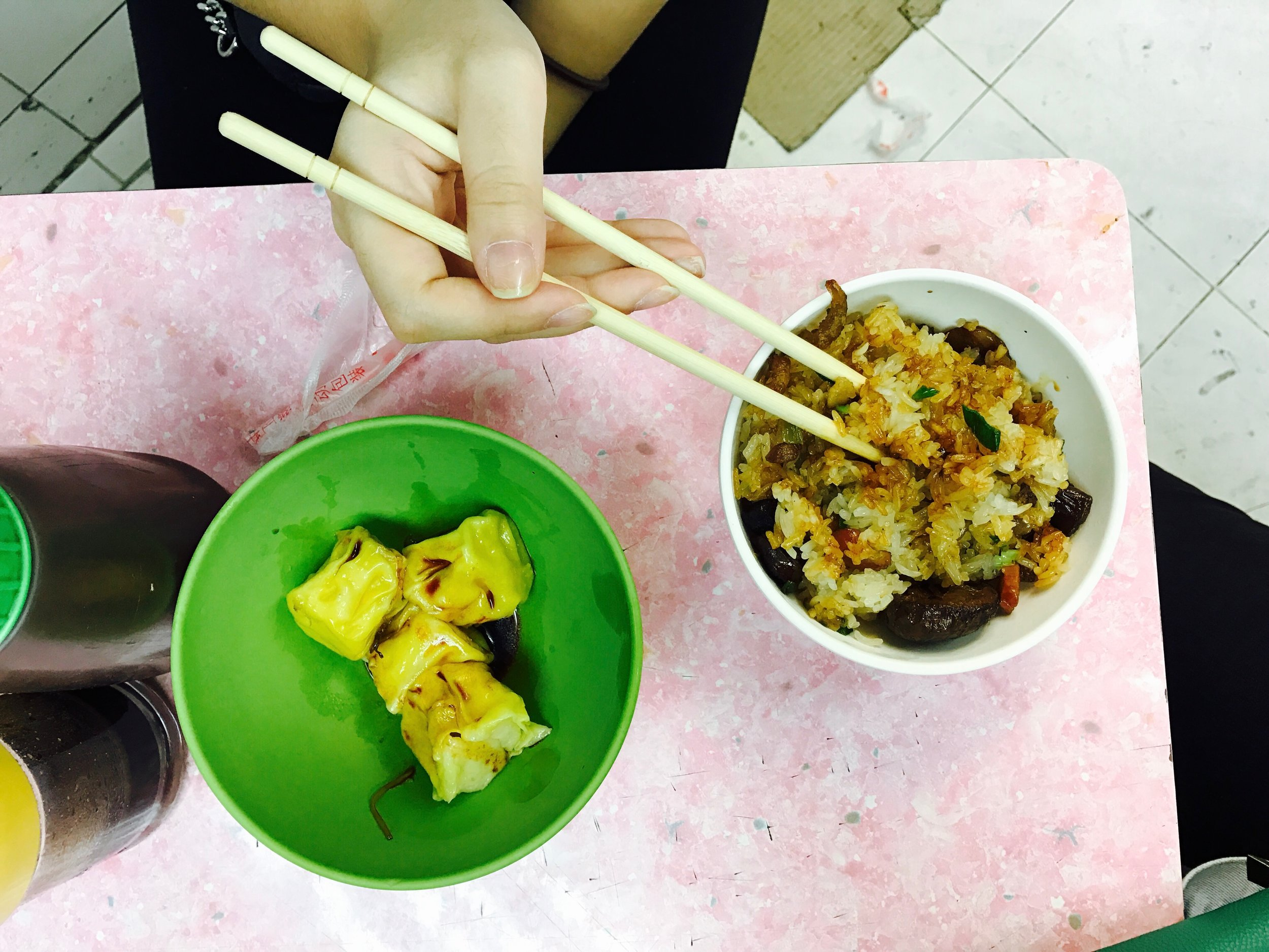 gluten rice and shu mai.