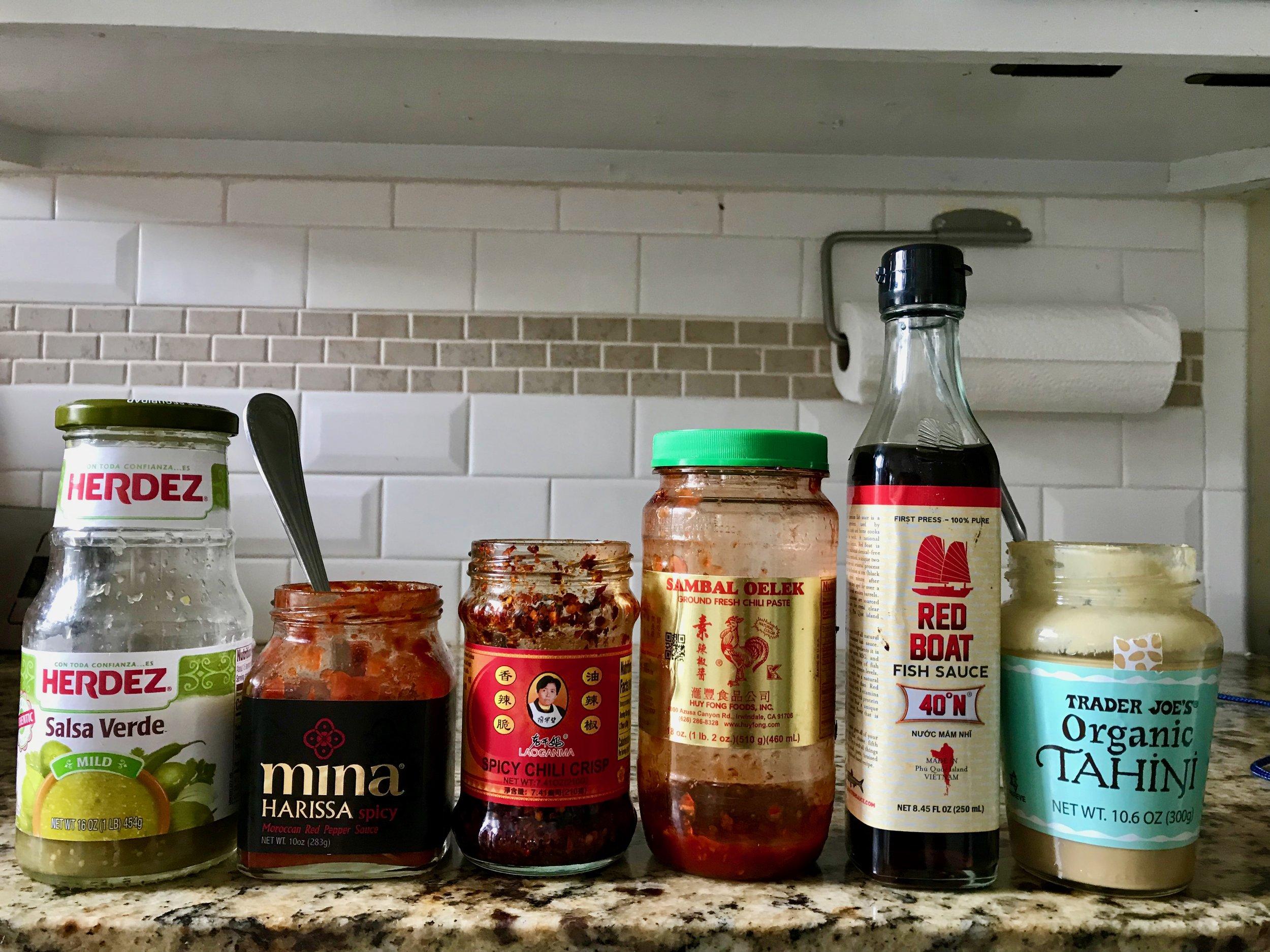 condiment lineup.