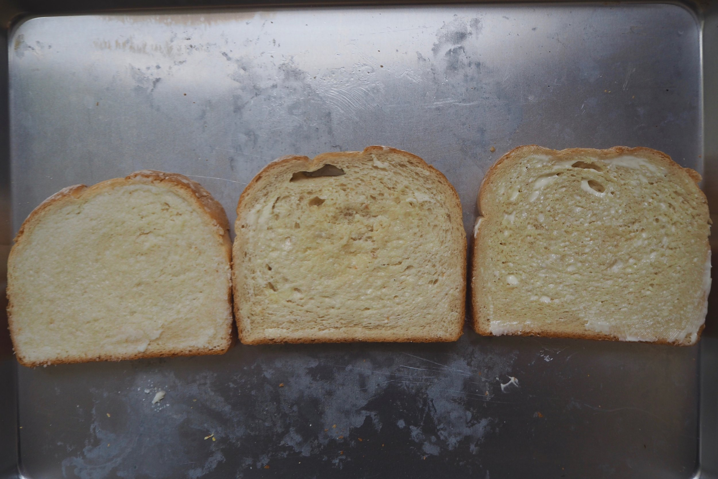 Also from left to right, ghee, butter, mayonnaise.