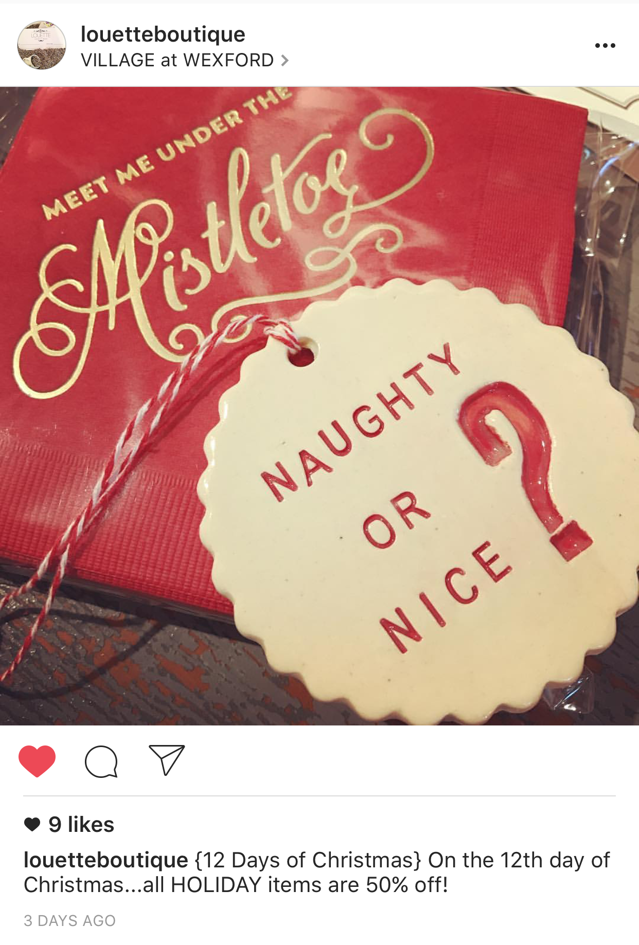 """Our friends in Hilton Head,  Louette Boutique , have great Christmas gifts in stock (including our """"Meet Me Under the Mistletoe"""" napkins!)"""