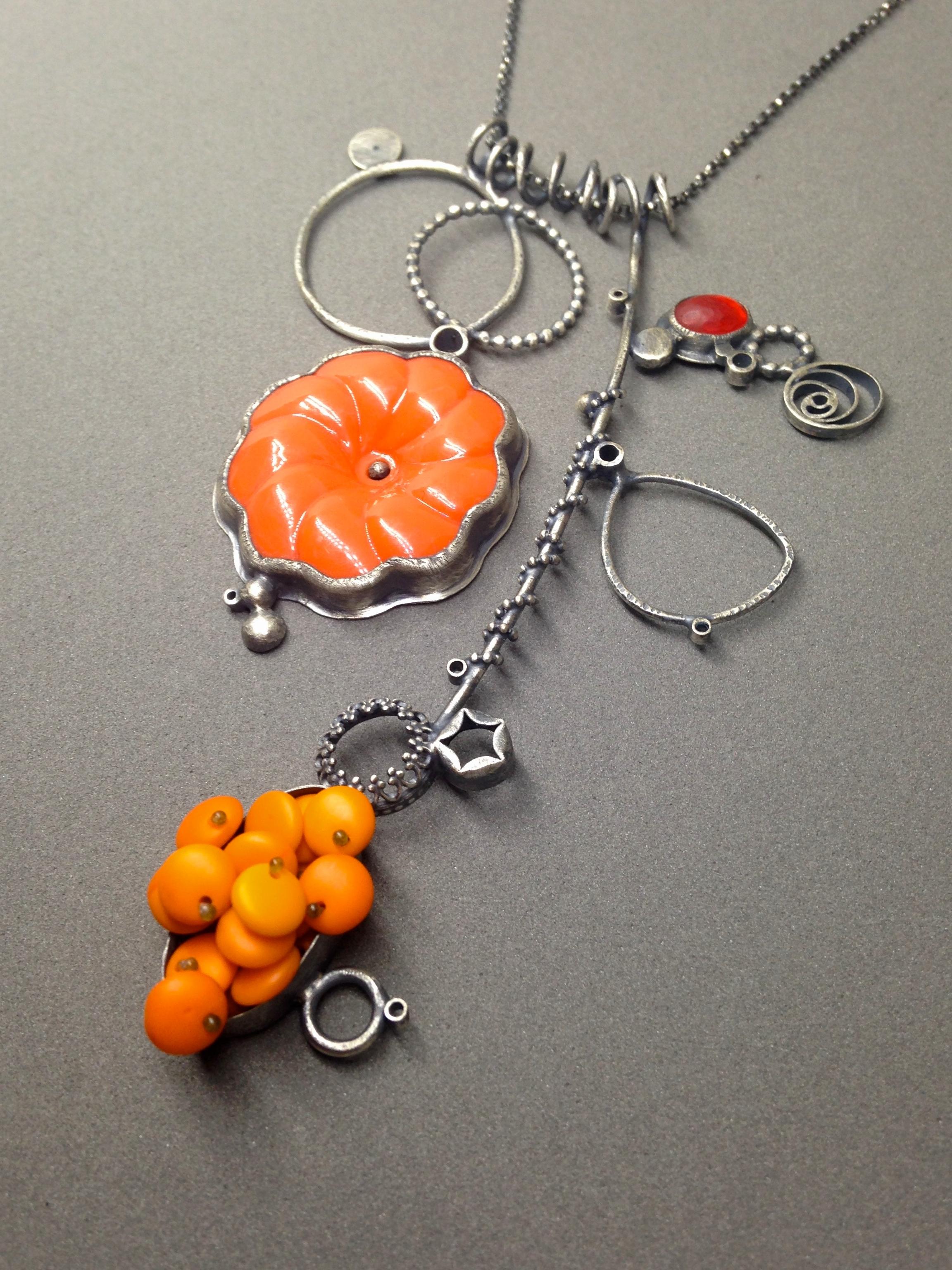 orange polyp collage necklace: