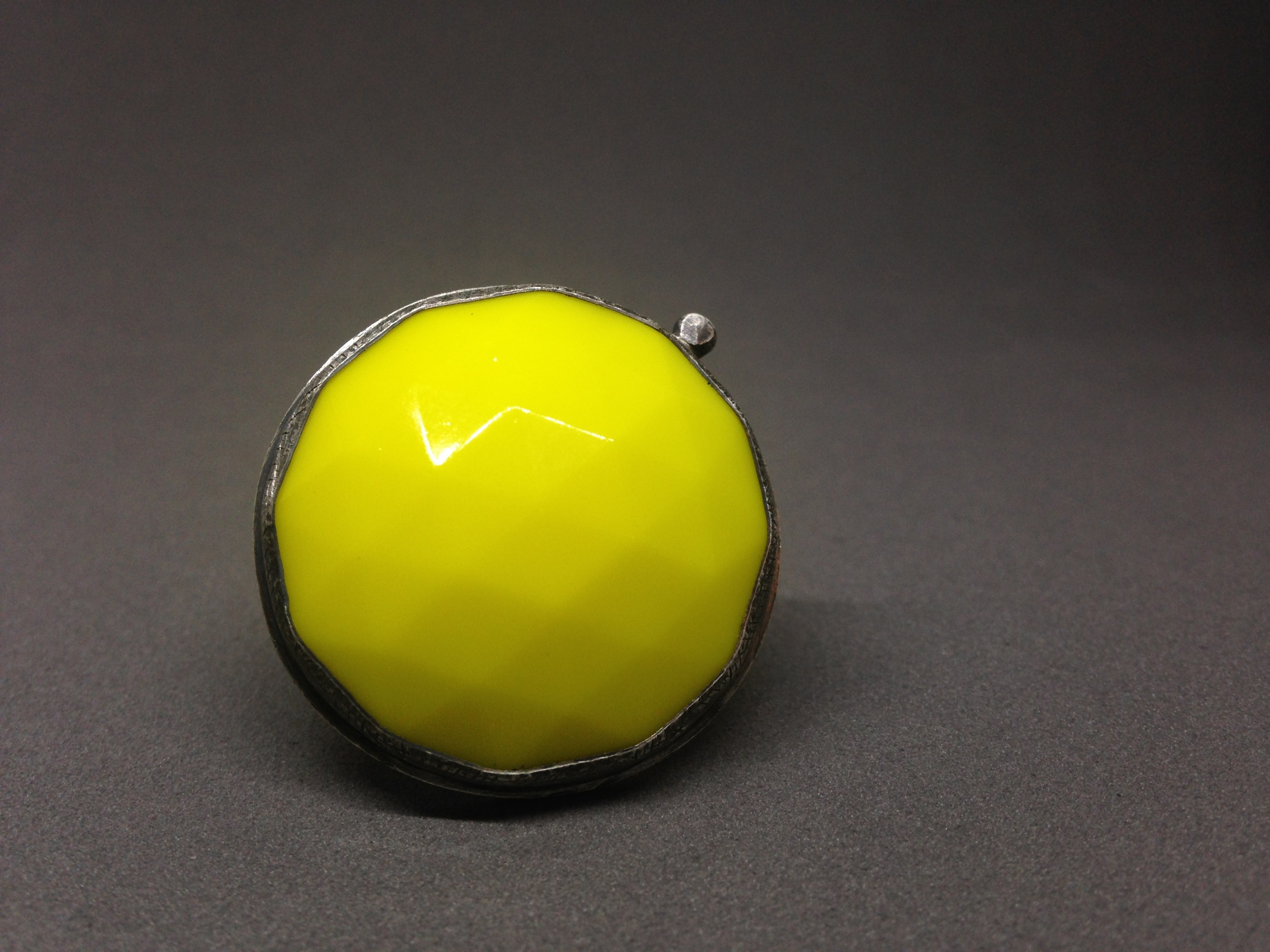 large bright yellow ring: faceted vintage glass & oxidized sterling silver