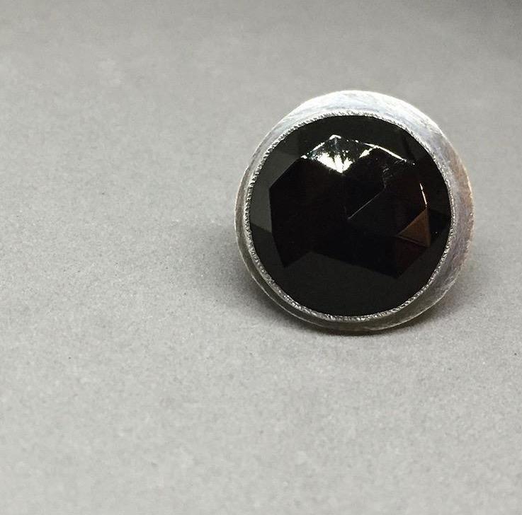 black lunar ring; oxidized sterling & faceted vintage glass