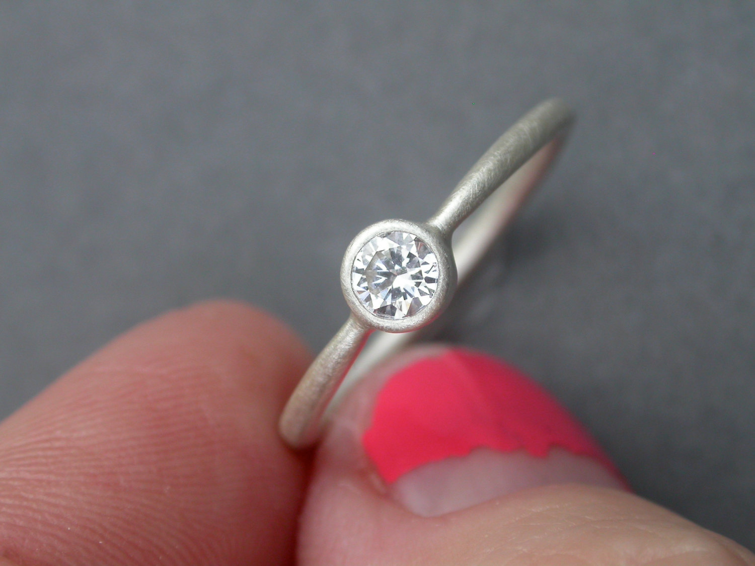 Diamond Engagement Ring Oxidized Sterling Silver Wedding Ring