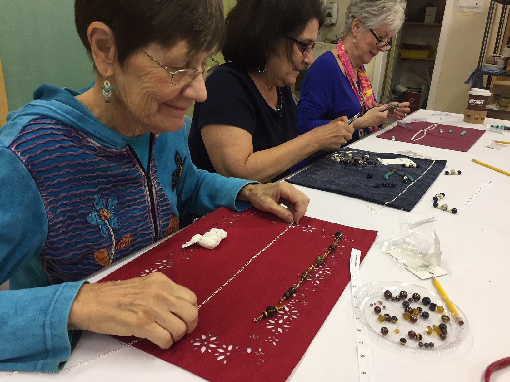 Students learn Jewelry Making at an Osher (Osher Lifelong Learning Institute at the University of Delaware) sponsored class in October, 2018 which was held at CCArts.