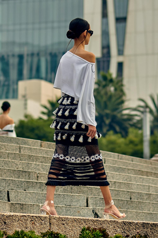 MEXICO CITY, MEXICO - OCTOBER 7: A model walks the runway during the Benito Santos fashion show at Mercedes Benz Fashion Week Mexico 2018 at Monumento al Angel de la Independencia on October 7, 2018 in Mexico City, Mexico. (Photo by Leomardo Fernandez)