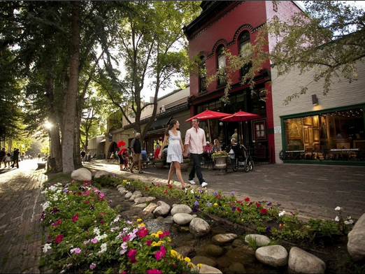 Shops and outdoor dining along beautifully landscaped walkways. Is this similar to your vision for Downtown Crozet?