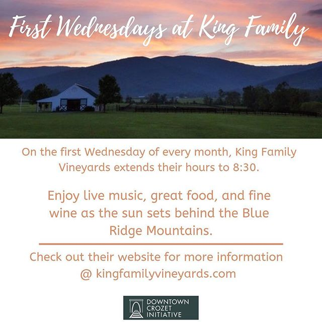 Wine Wednesday's are the best days! Head over to King Family Vineyards for the first Wednesday of the month with food trucks, live music, good wine, and more!