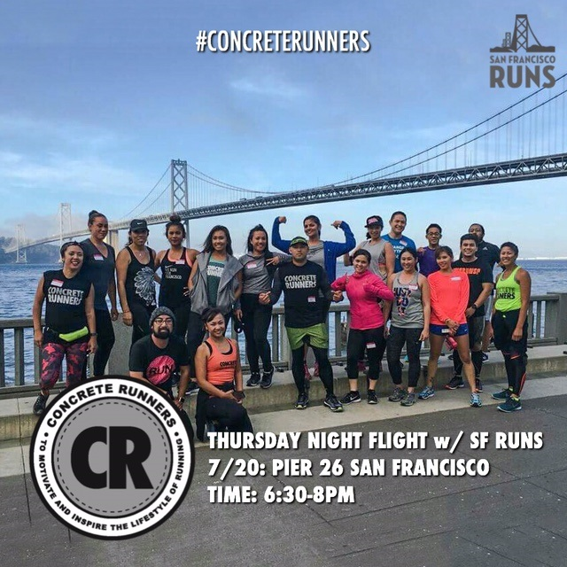 Come fly with us for a very special Thursday Night Flight! We will be joining @sfruns for a flight along the embarcadero with views of San Francisco!    Date: Thursday, July 20th    ️Hosted by: SF Runs    Boarding time: 6:15pm    Departing time: 6:30pm    Distance: 3-5mile options    Flight Deck: SF Runs Office (Pier 26)    Powered By: @musclemilk      #concreterunners #CRxTNF #runcrew #runwithus #runnerscommunity #fitnesscommunity #werunthebay #werunsf #sfruns #musclemilk #strongereveryday