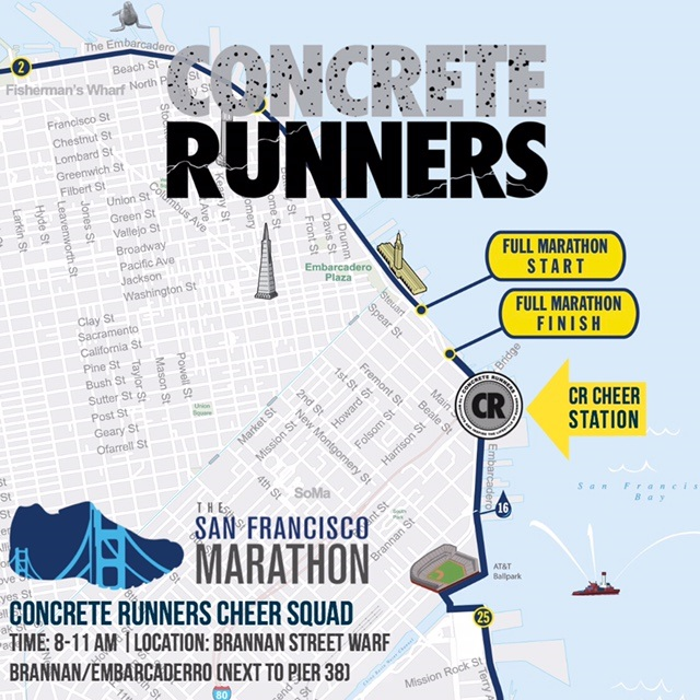 GOOD LUCK to all the runners on The San Francisco Marathon! We'll be cheering you on! If you're not running,come CHEER with US! We will be location on at Brannan Street Warf next to Pier 38 (Brannan/Embarcaderro)