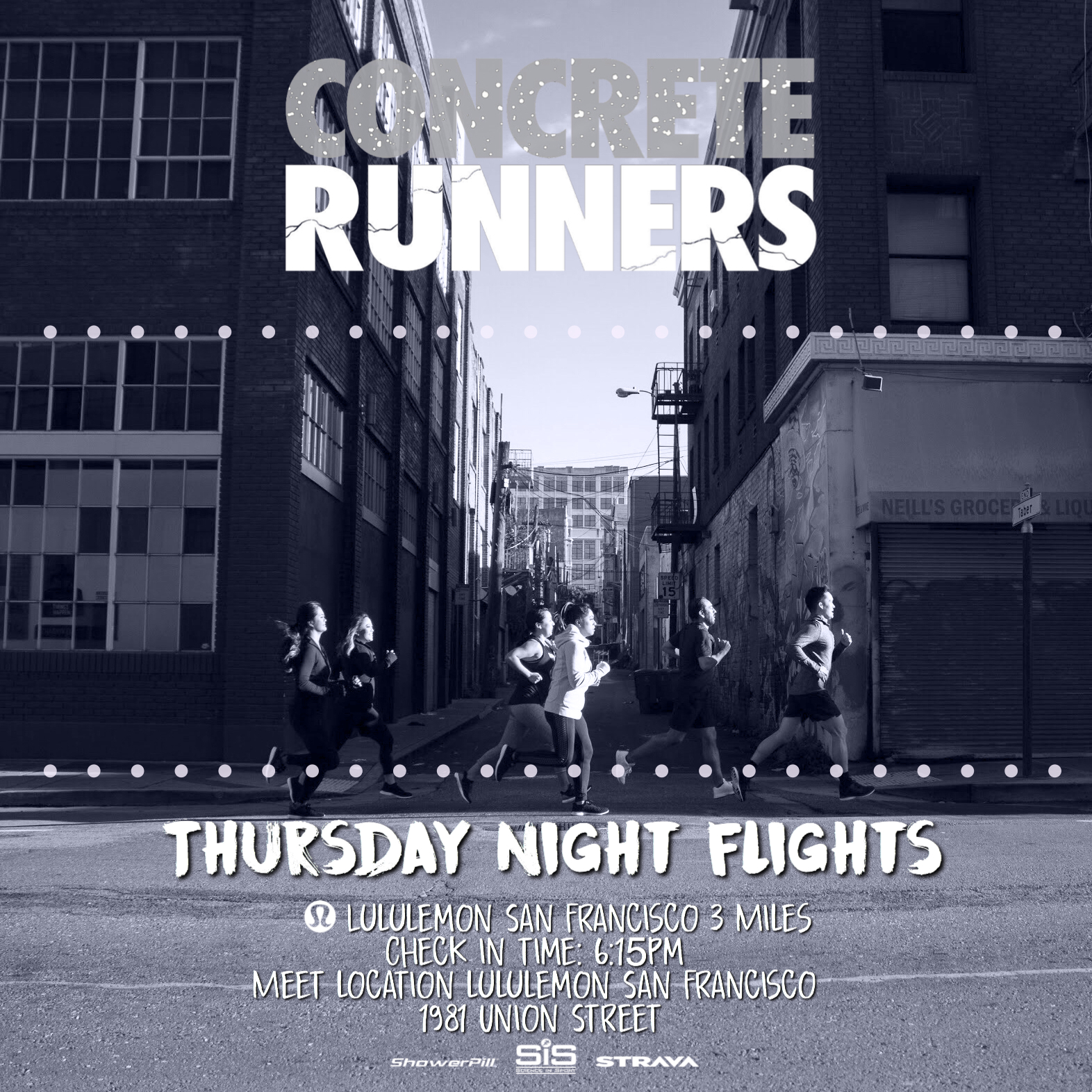 Join Concrete Runners for our anniversary at Thursday Night Flight. We'll be taking off for a 3 mile run with Lululemon San Francisco (Cow Hollow)  📅 Date: Thursday 4/5  📍Meet Location: Lululemon 1981 Union Street San Francisco  🕧 Meeting time: 6:00pm  🛫 Take off: 6:30pm  👩🏻‍✈️Pilot(s): Arlynn  👟Distance: 3 miles  👜 Bag Storage: YES   Register  for the run through Eventbrite and check in at the event with one of the Pilots to be entered into our Loyalty Miles Program with On Running. For each Track Tuesday and Thursday Night Flight that you successfully check in to during the the 2018 season, you will be entered into a raffle that could win you free gear, or even a trip as our grand prize!  *️⃣ To join our run club on Strava, visit  www.concreterunners.com/strava .