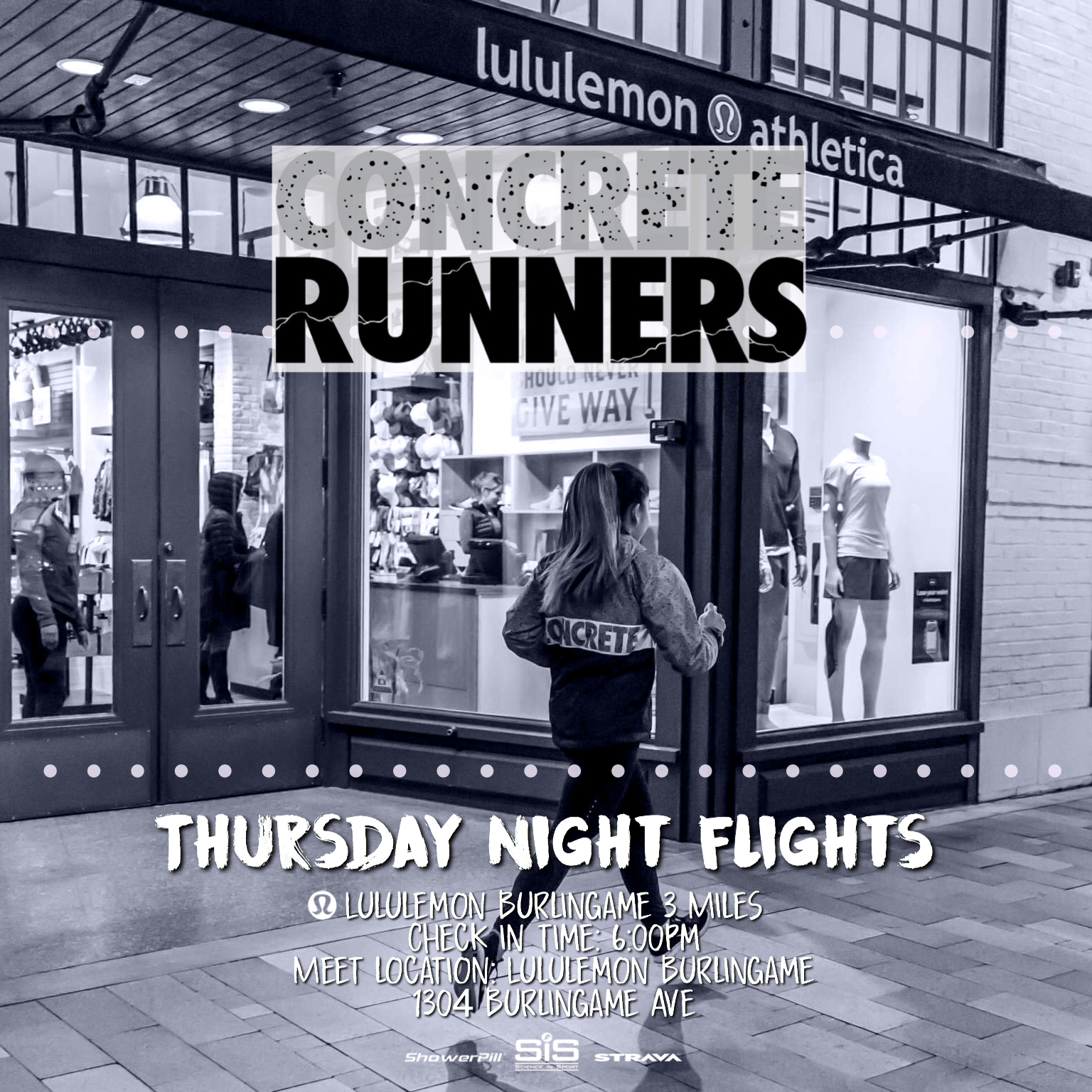 Join Concrete Runners for Thursday Night Flights. We'll be taking off for a 3 mile run with Lululemon Burlingame.  📅 Date: Thursday 4/19  📍Meet Location: Lululemon Burlingame  🕧 Meeting time: 6:00pm  🛫 Take off: 6:30pm  👩🏻✈️Pilot(s): Sam B & Jess DL  👟Distance: 3 miles  👜 Bag Storage: YES  *️⃣ For each Track Tuesday and Thursday Night Flight that you successfully register and check in to during the the 2018 season, you will be entered into a raffle that could win you free gear, or even a trip as our GRAND PRIZE!  *️⃣ To join our run club on Strava, visit  www.concreterunners.com/strava .