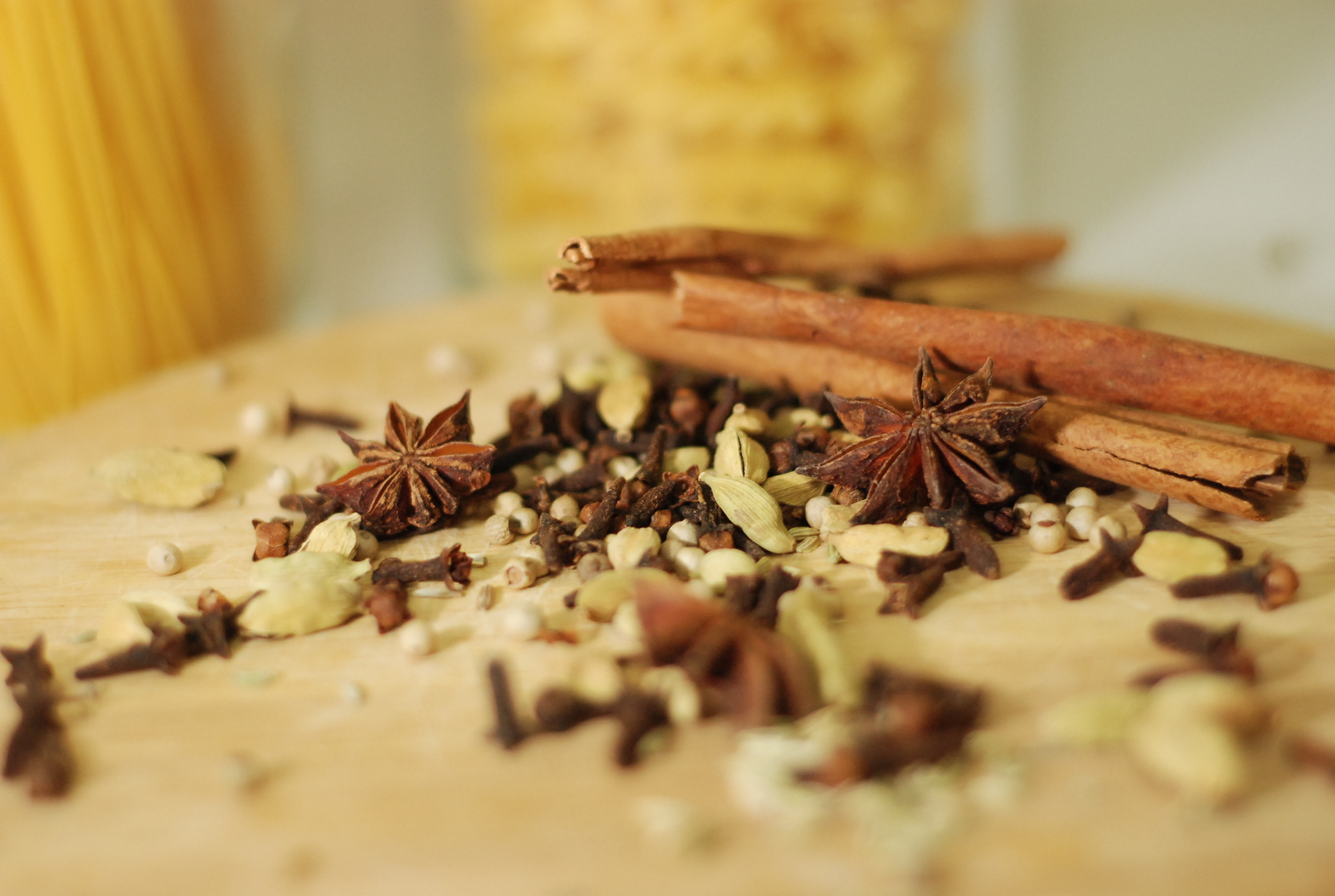 Star anise, cinnamon, cloves and cardamom are pictured above