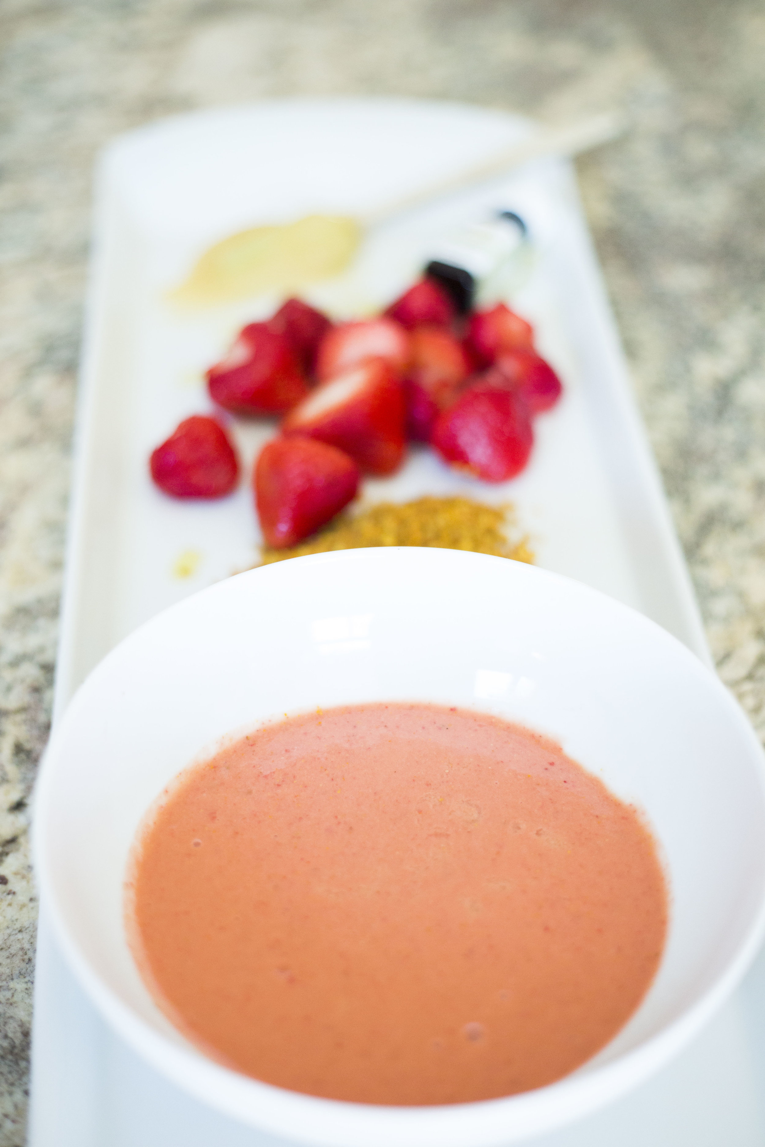 Adapted from the Strawberry and Bee Pollen Facial at the Spa at Andaz Wall Street, in New York City.