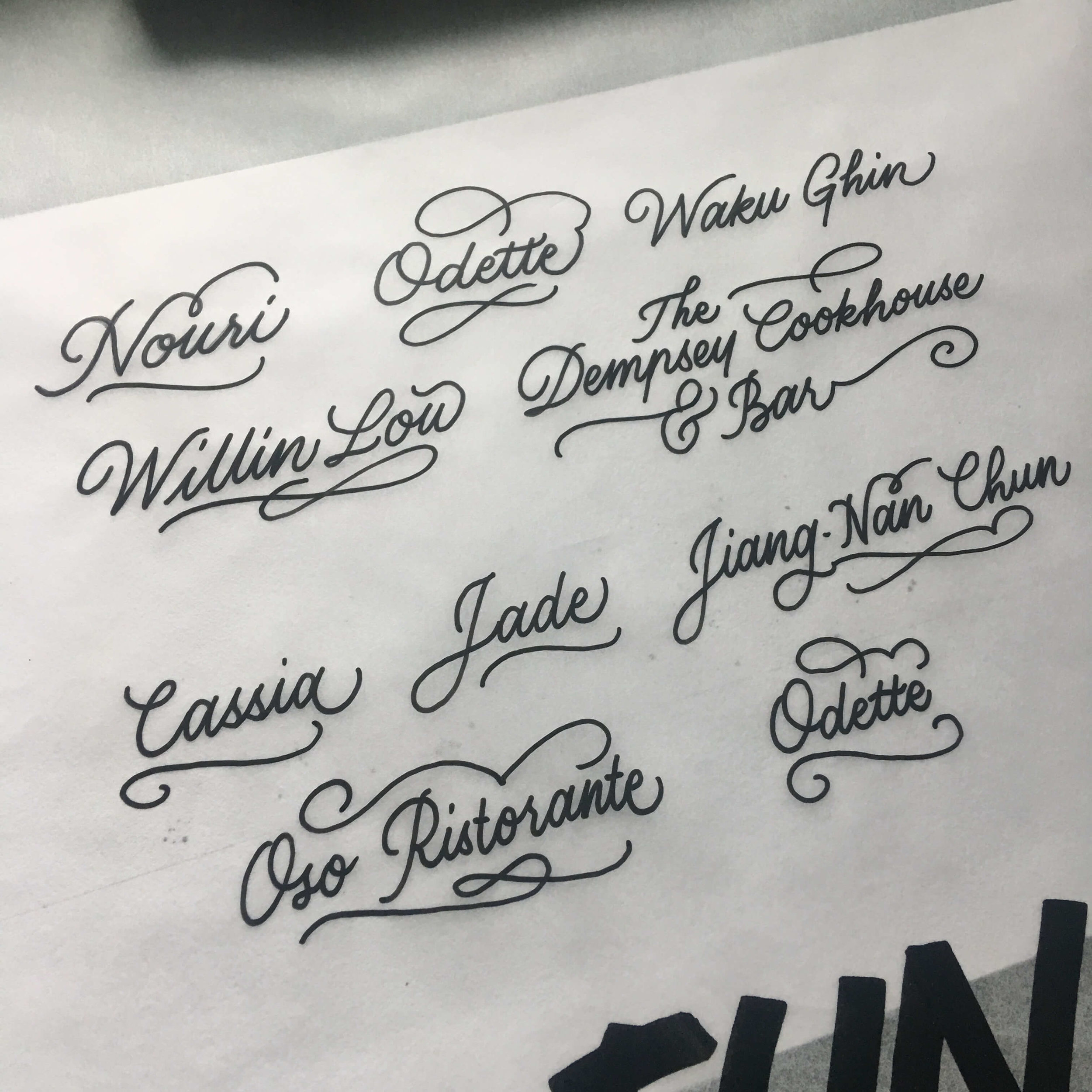 Name list of wine personalisation
