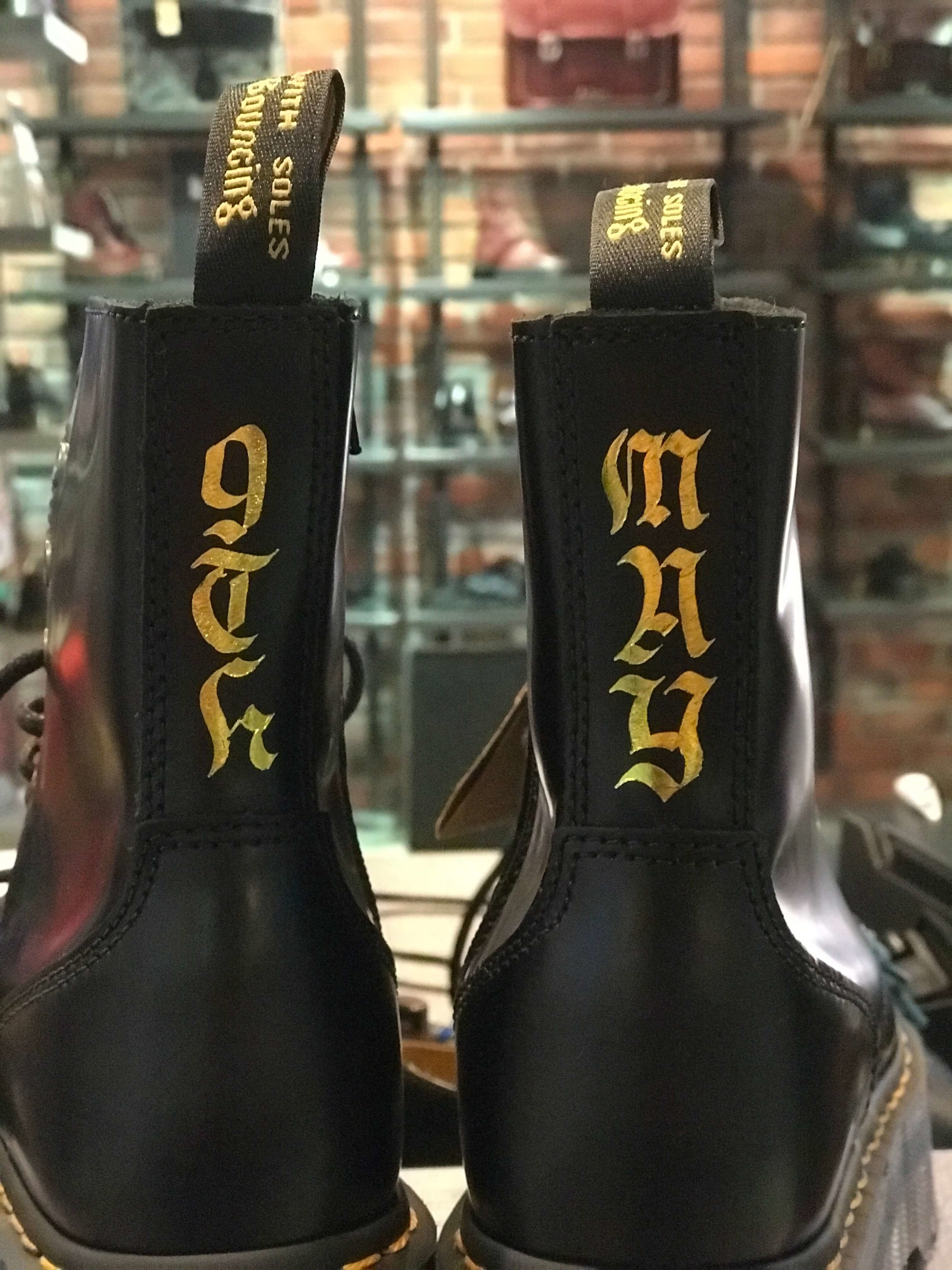 Gothic or Blackletter letters on a customer's shoe. It was the customer's birthday gift.