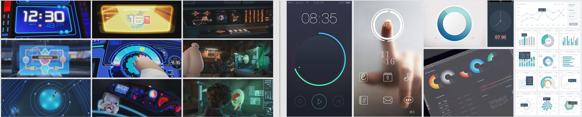 Pixar's Wall-e and Big Hero 6 (Left) Modern mobile UI designs (Right)