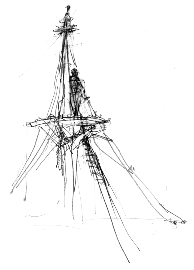 Matt on top of the world. Raising the mast. Mystic Seaport, CT, Spring 2015