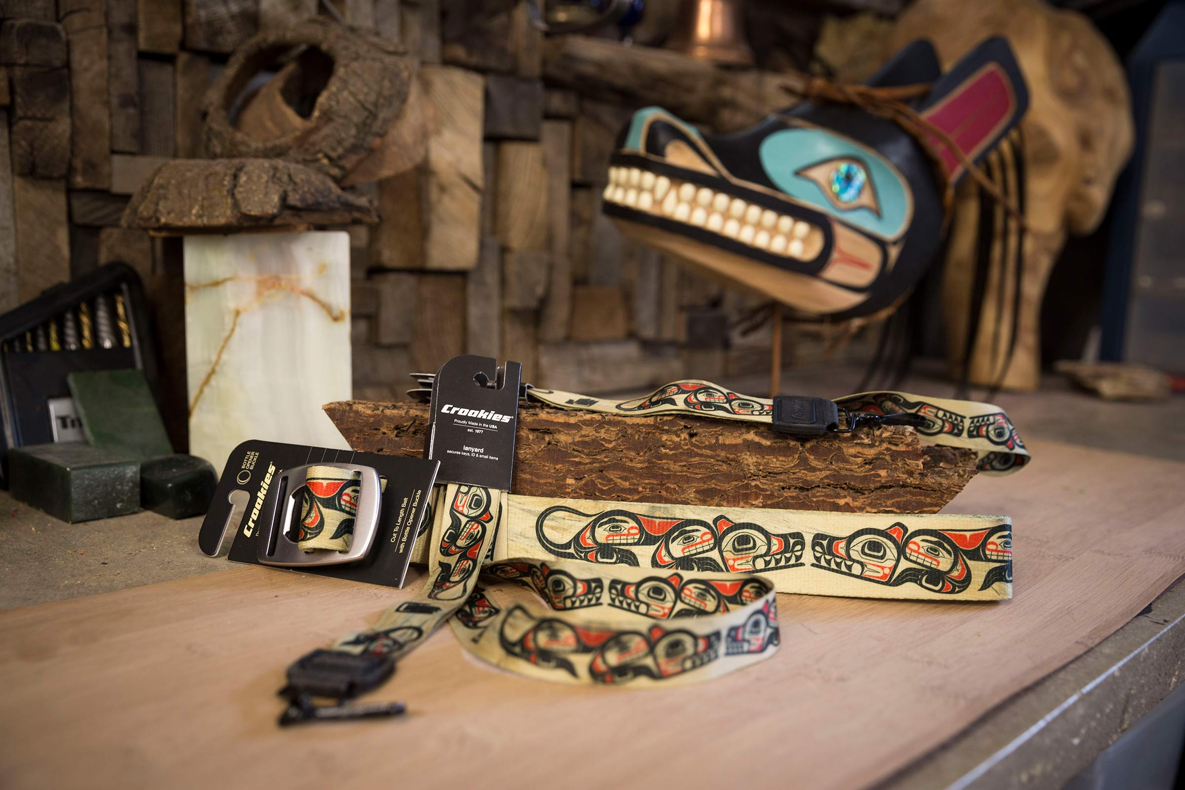 N-Grained Inc. Croakies Line will be available Worldwide Soon!  Pictured here is the Wolf Belt, and Lanyard. / photo: Ian Tetzner