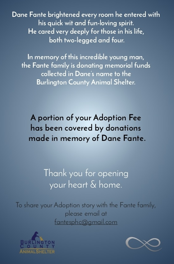 Each new adopting family will receive one to help spread this new chapter of Dane's legacy.