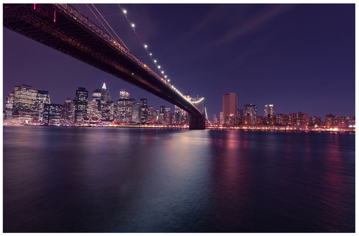 Brooklyn Bridge into New York City