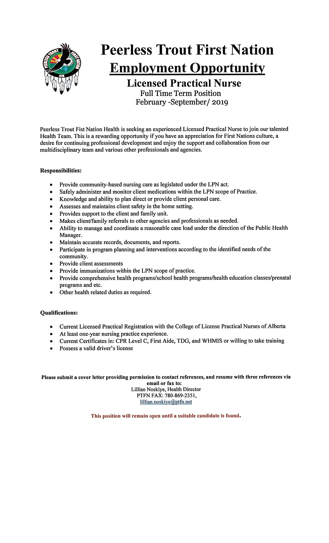 Licensed Practical Nurse Position — Peerless Trout First Nation