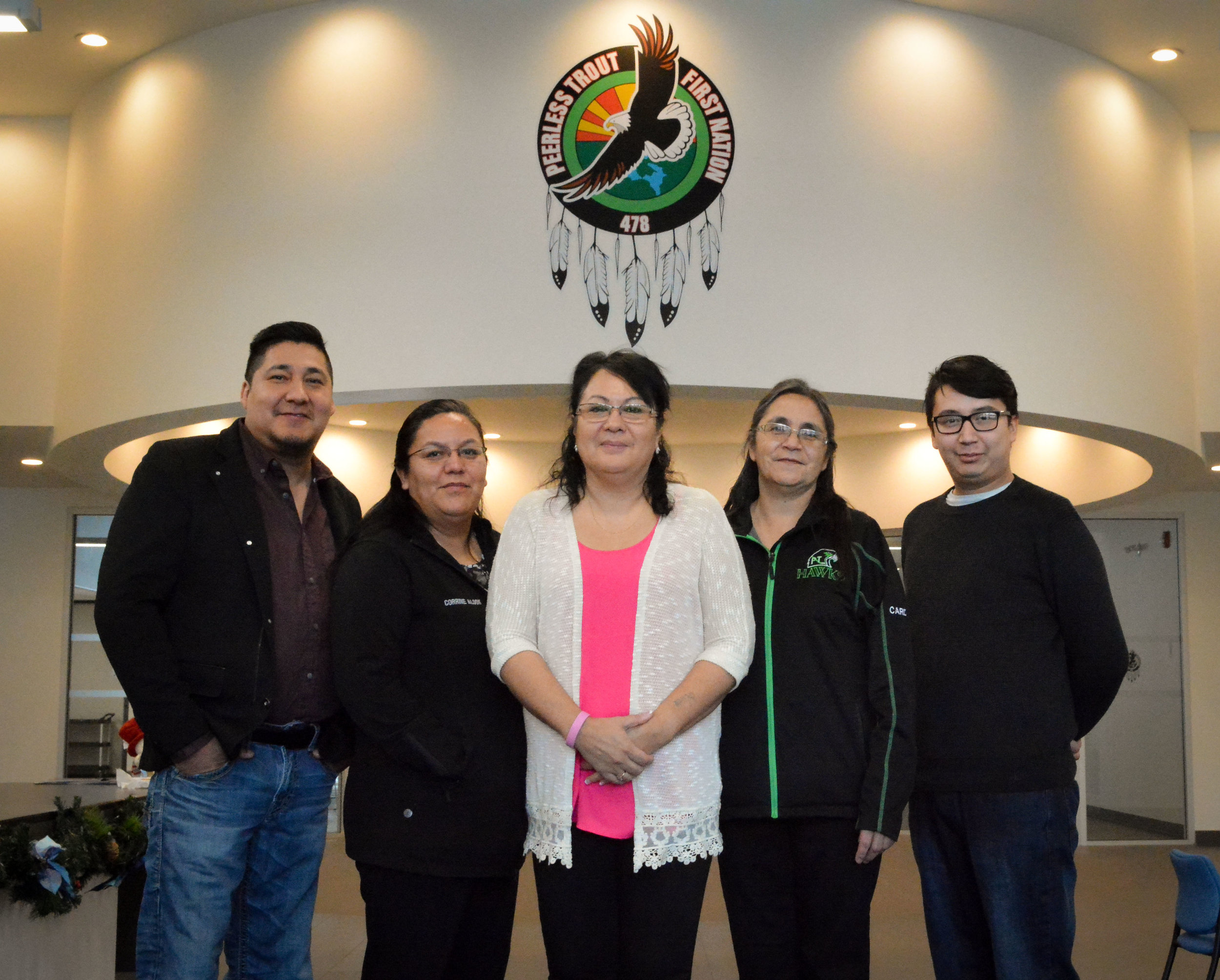 Peerless Lake councillor - Gilbert Okemow, Peerless Lake Councillor - corrine Alook, Peerless trout chief - Gladys Okemow, Trout Lake councillor- Judy Sinclair, Trout Lake councillor - mark cardinal