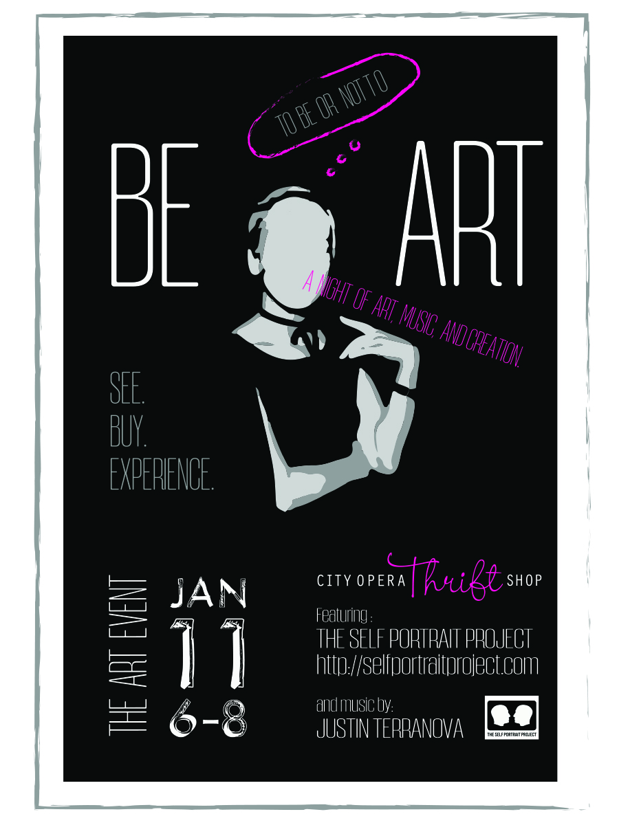 Art Event flyer from Jan 2017 featuring music and a unique collaboration with The Self Portrait Project