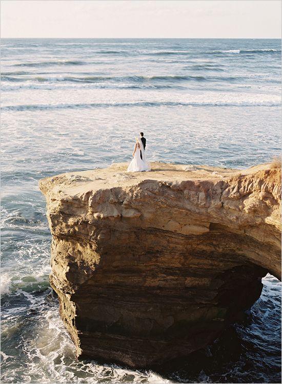 Ocean cliff wedding photos