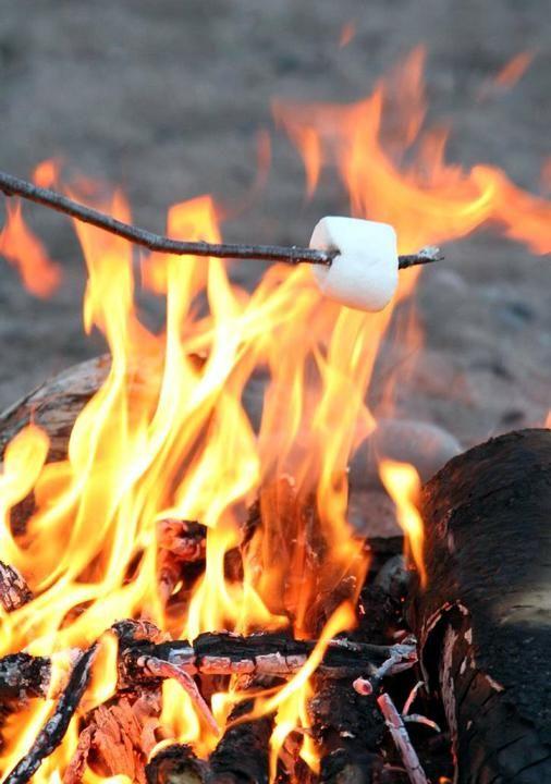 wedding beach bonfire s'mores