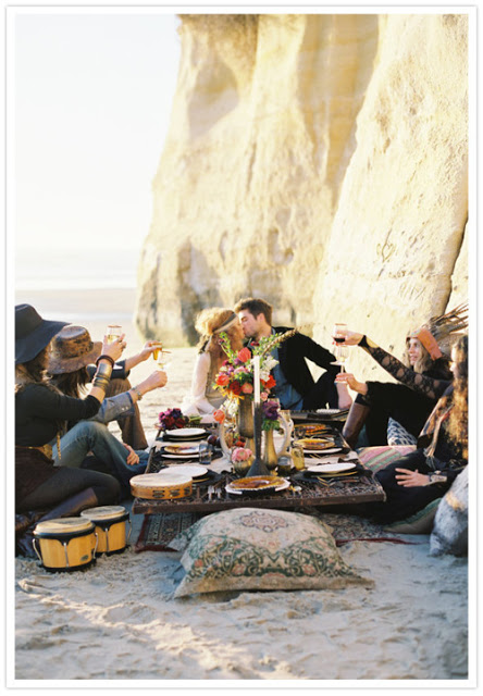 Boho beach wedding picnic