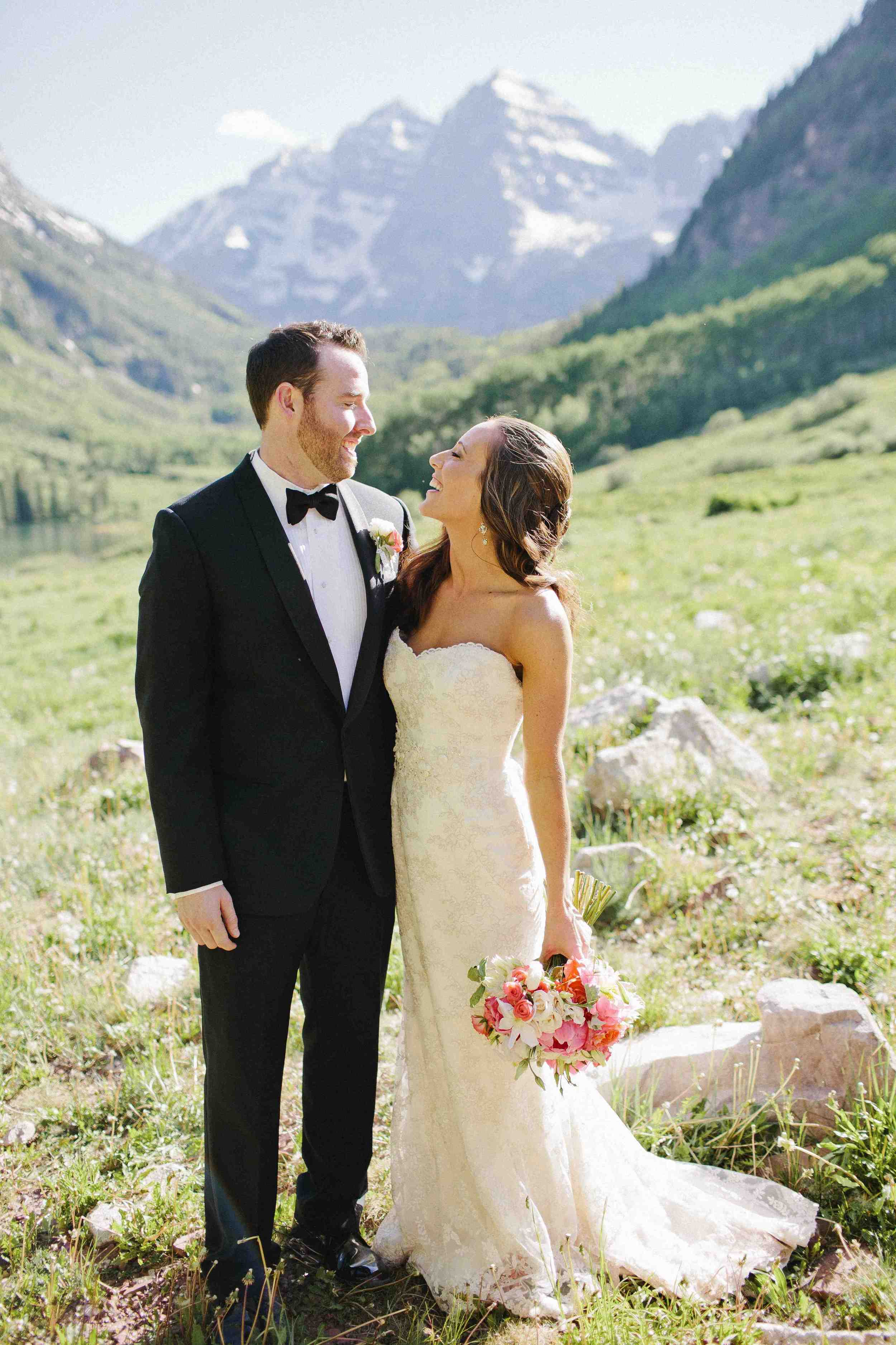 Melissa in a Sassi Holford gown at her Aspen wedding // photo by Happy Confetti Photography