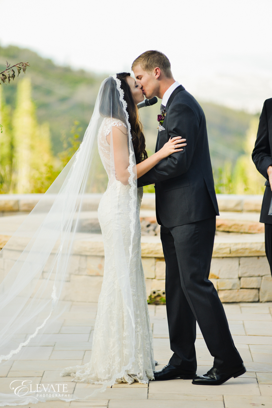 Montage Deer Valley Wedding | Park City, Utah | Claire Pettibone Chantilly Gown from Little White Dress Bridal Shop in Denver | Elevate Photography