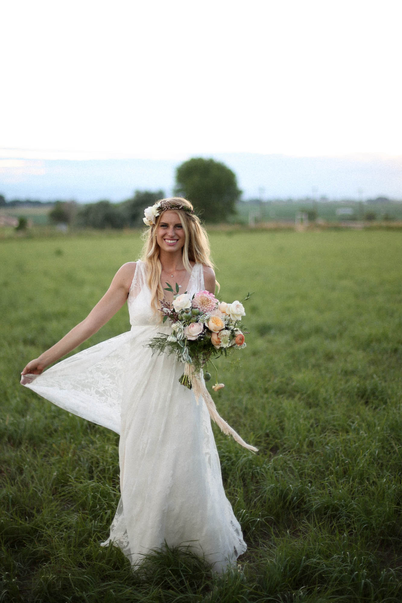 Colorado Backyard Bohemian Wedding | Charlie Brear wedding dress from Little White Dress Bridal Shop