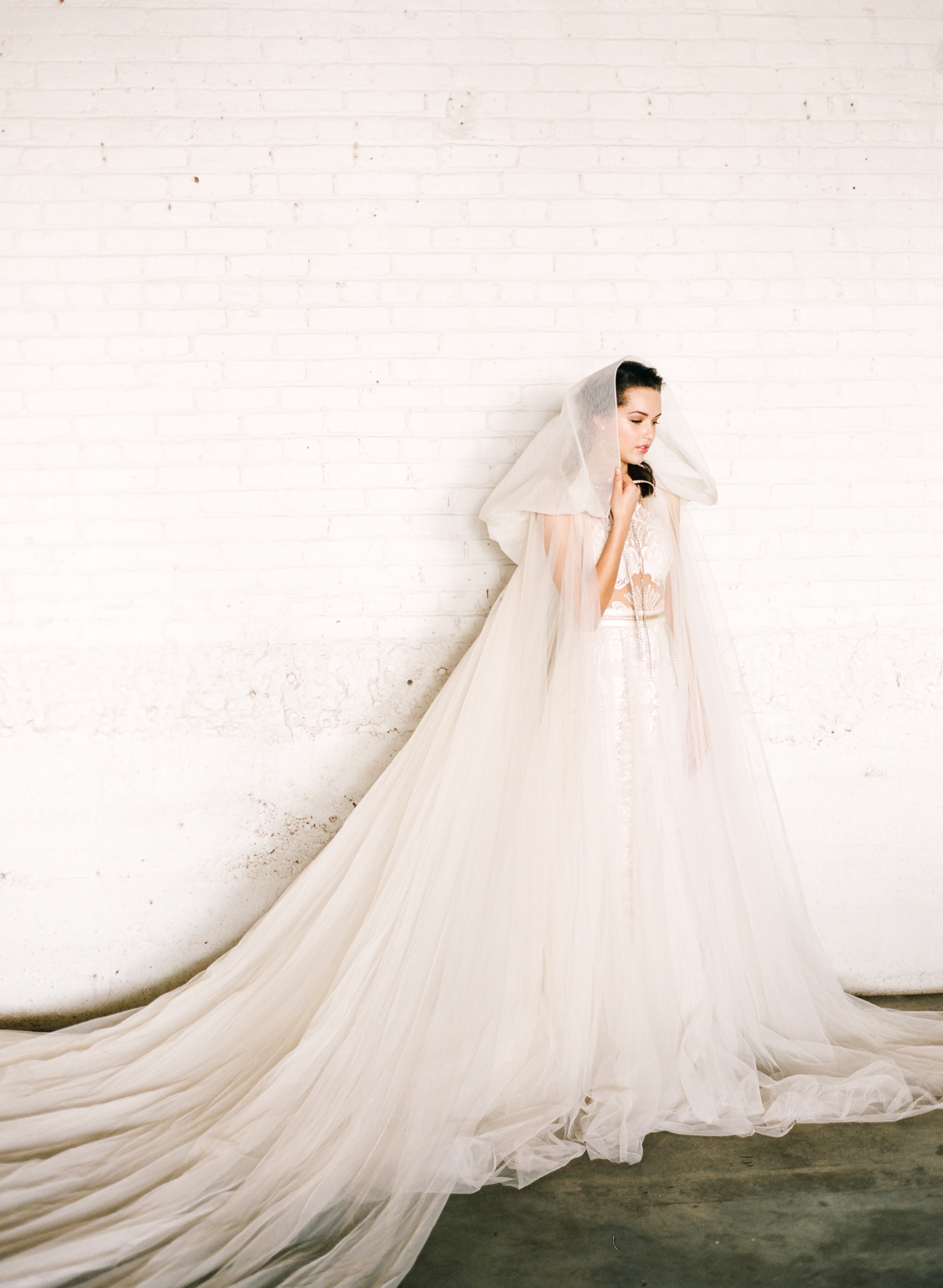 "Galia Lahav ""Flavia"" gown and ""Elise"" cape from Little White Dress Bridal Shop 