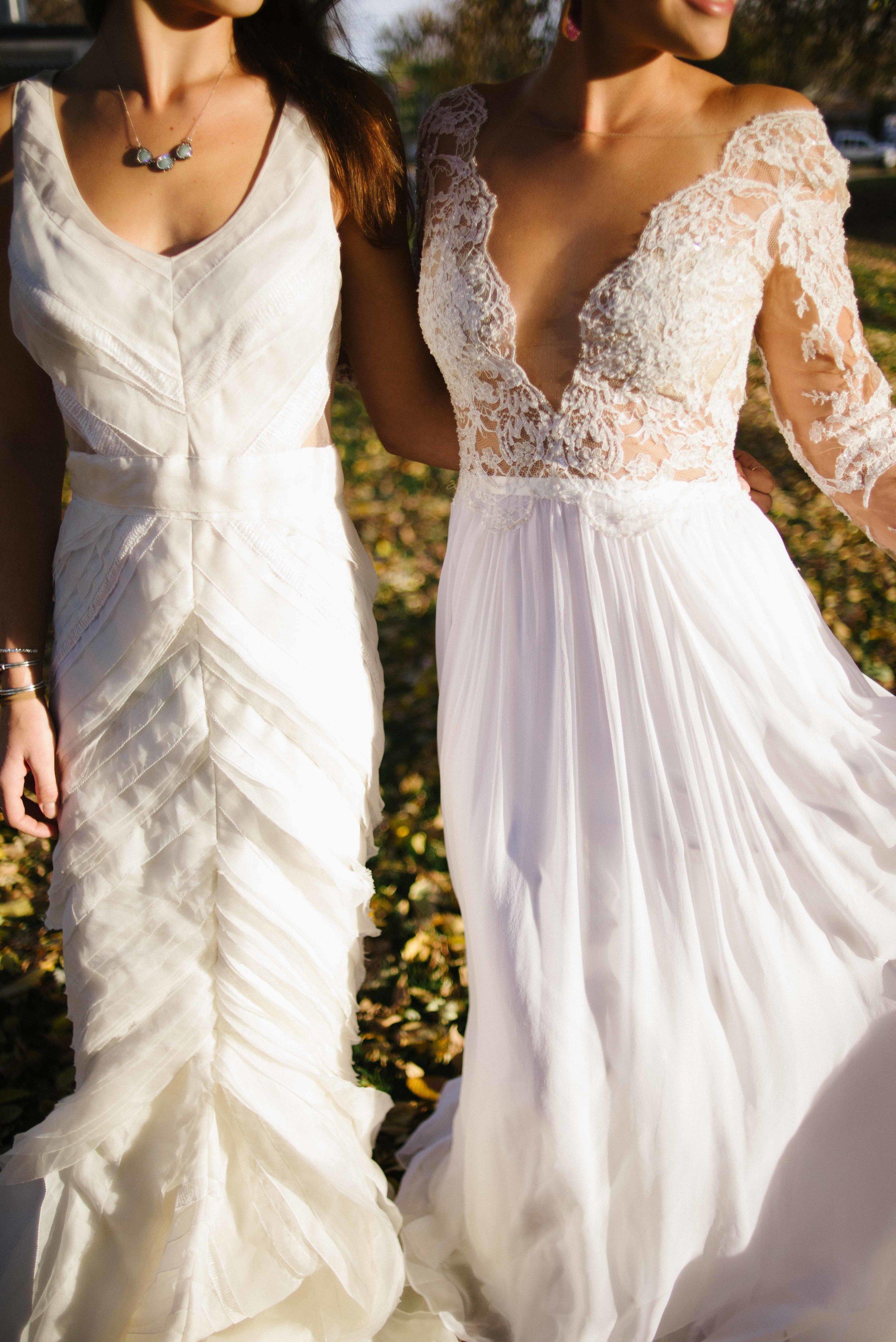 "Fall Wedding Inspiration   J. Mendel ""Zoe"" & Anne Barge ""Leyland""   available at Little White Dress Bridal Shop in Denver   Photography: Kelly Leggett"