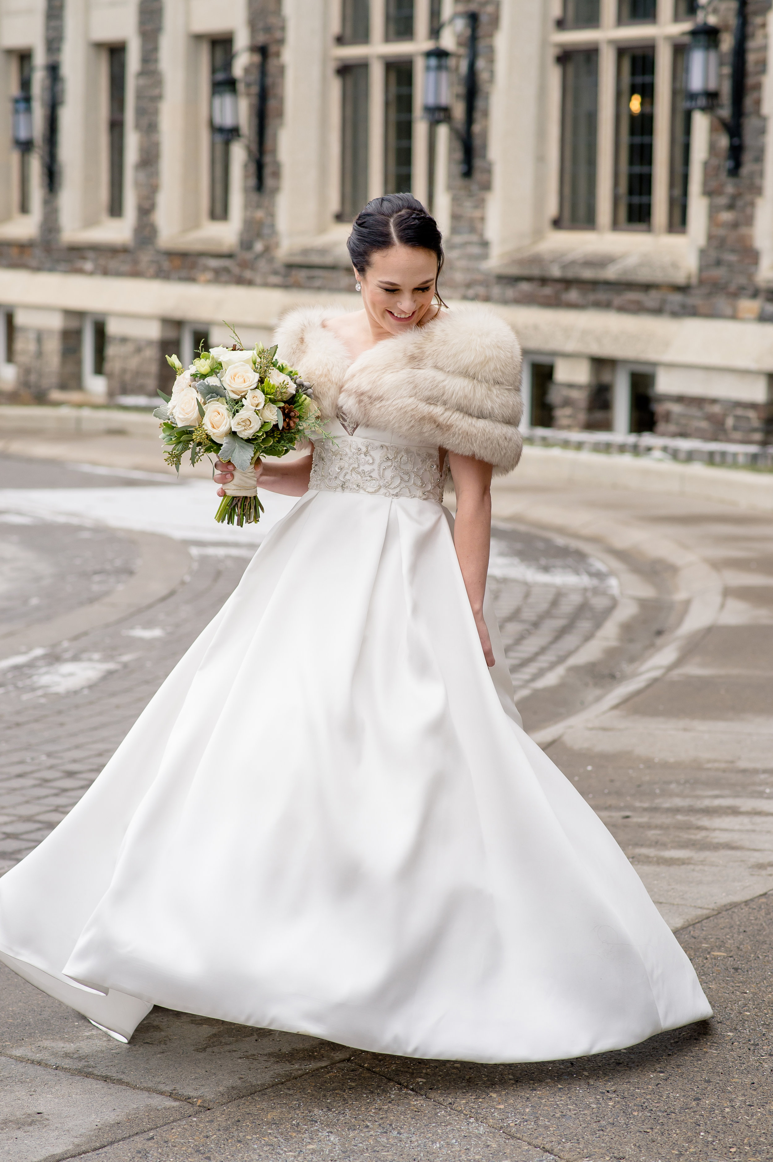Winter wedding in Banff, Canada | Anne Barge Harlequin gown from Little White Dress in Denver, Colorado |  Orange Girl Photography