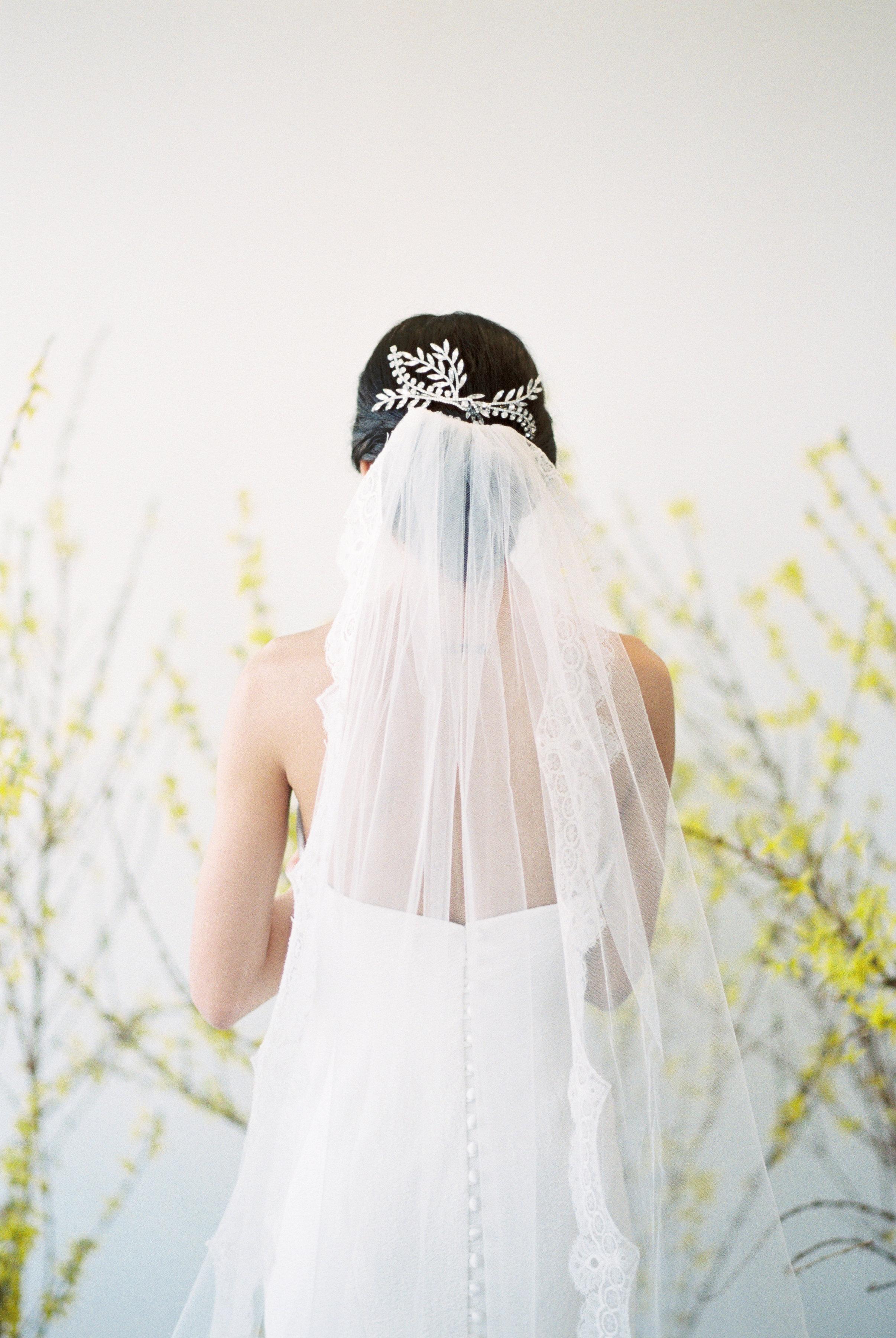 "Sassi Holford ""Astrid""wedding dress and Jennifer Behr headpiece | Spring Bridal Inspiration from Little White Dress Bridal Shop in Denver, Colorado | Decorus Photography"