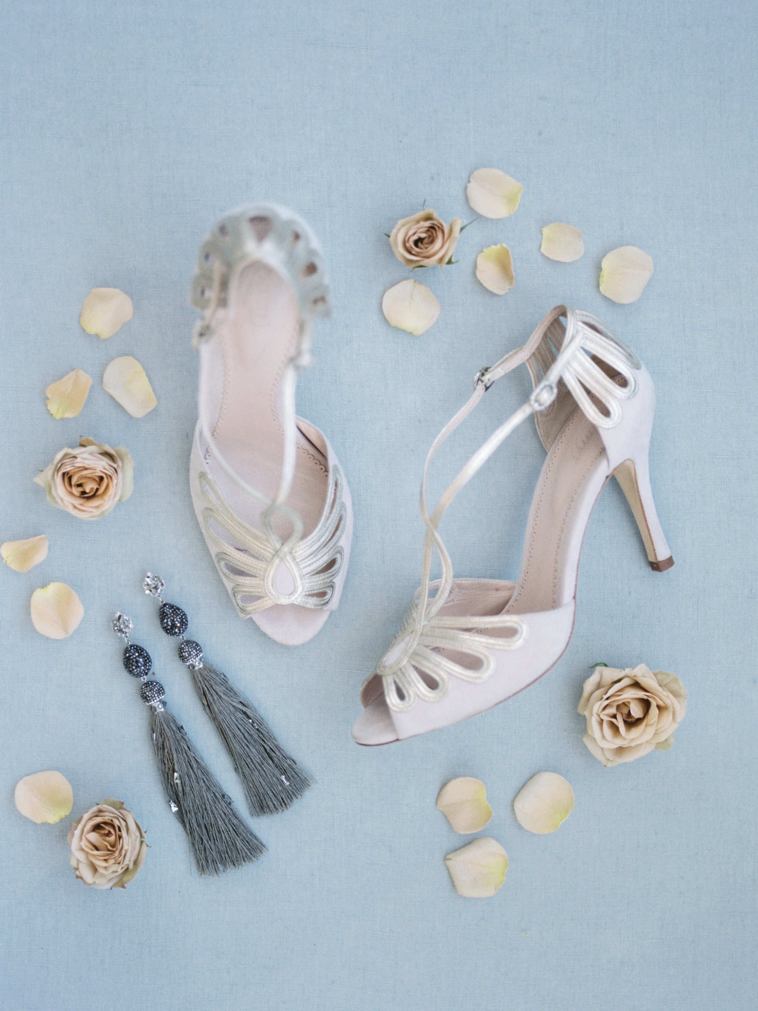 Emmy London Leila shoes and Maria Elena Headpieces tassel earrings | Spring Bridal Inspiration from Little White Dress Bridal Shop in Denver, Colorado | Decorus Photography