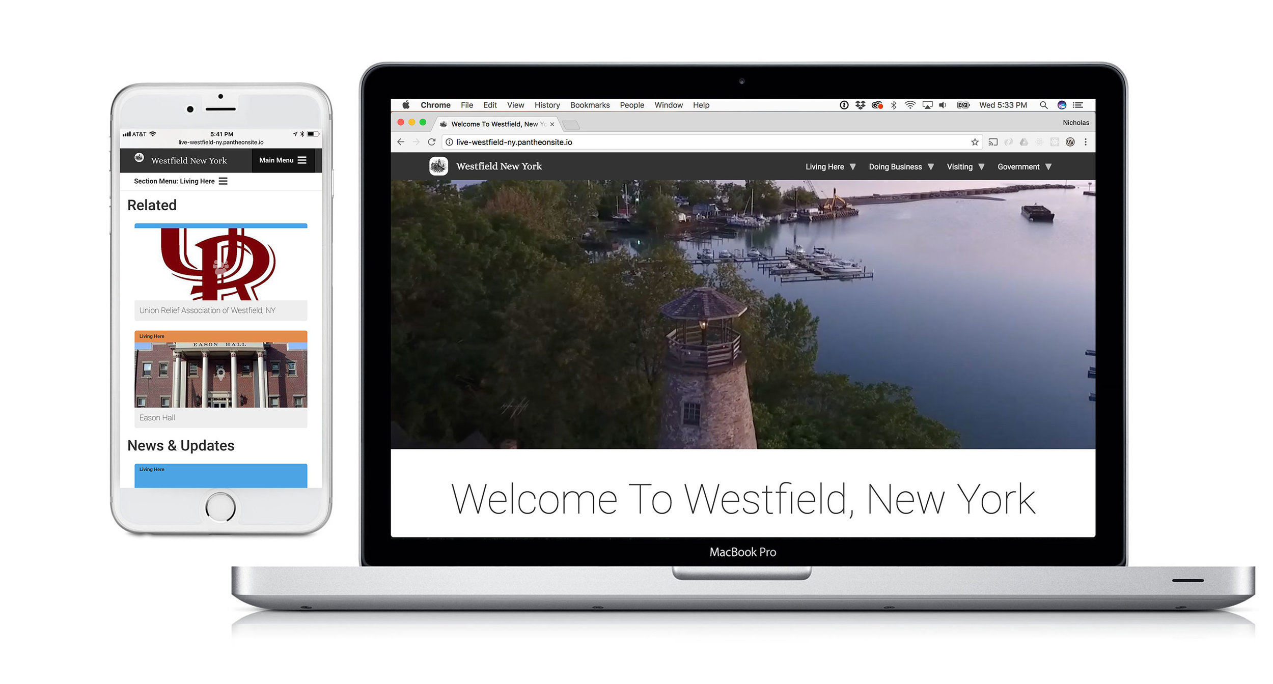 A screenshot of westfieldny.com