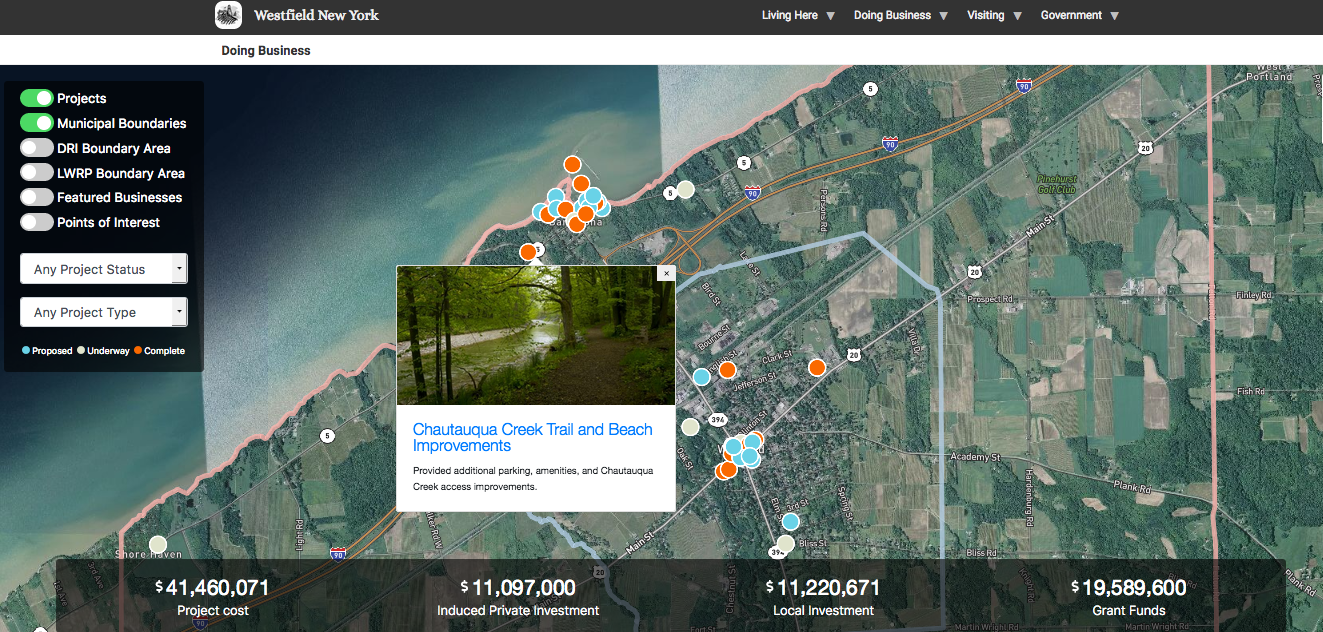 Homepage for Economic Development Platform; includes map with points.