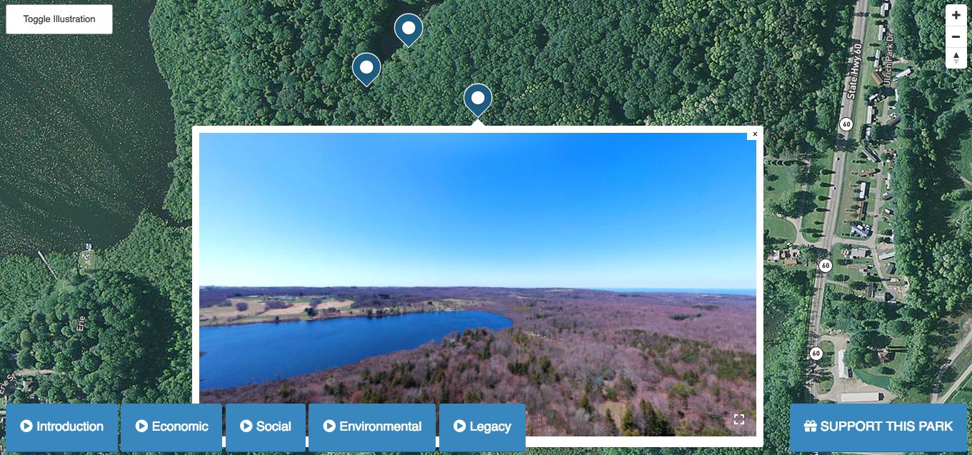 Screenshot of Cassadaga Lake Nature Park satellite image.
