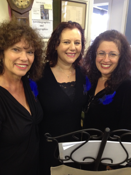 The Blue Chair Poets:  Deborah Williams, Sarah Farrugia and Yvette Bentata