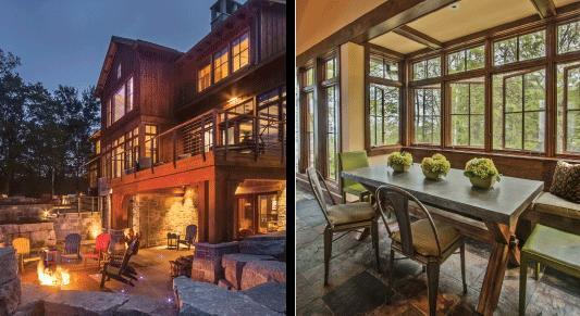 (Left) A lower level terrace is designed for a younger family members to sit around the fire put while being in the proximity of the rest of the group. The porch above connects to the master bedroom suite. Fond du Lac stone is used extensively in the landscaping.  (Right) The sitting room includes a banquette area. The room was originally designed as a screen porch, but the homeowners wanted it to be enclosed for year round enjoyment.