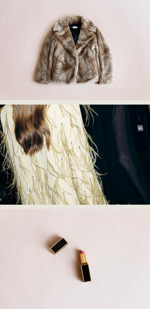 Top and bottom photos by me,  Tom Ford Lip Color Shine  in nubile.  Dries Van Noten Fall '13 backstage  photo via Self Service.