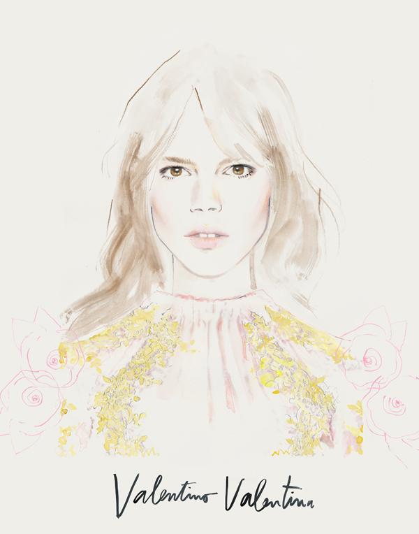 Illustration of Freja Beha for Valentino Acqua Floreale by me. Thank you Katja, Salomé and Valentino x