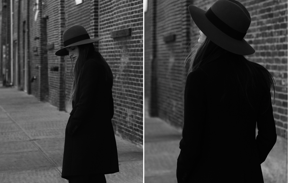 Outtake of Carly wearing Saint Laurent hat, Isabel Marant Coat. Photo by Andrew Stinson, Styling by me. More soon.