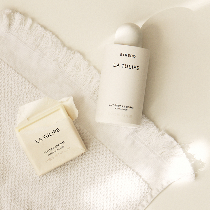 Byredo La Tulipe Soap and  Body Lotion.  Photo by me.